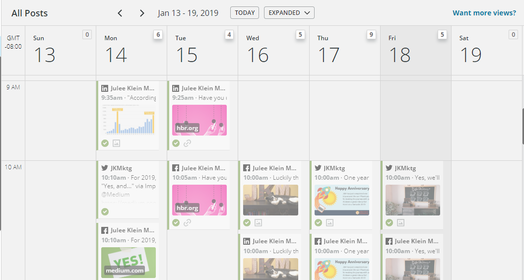 The social posting calendar in Hootsuite